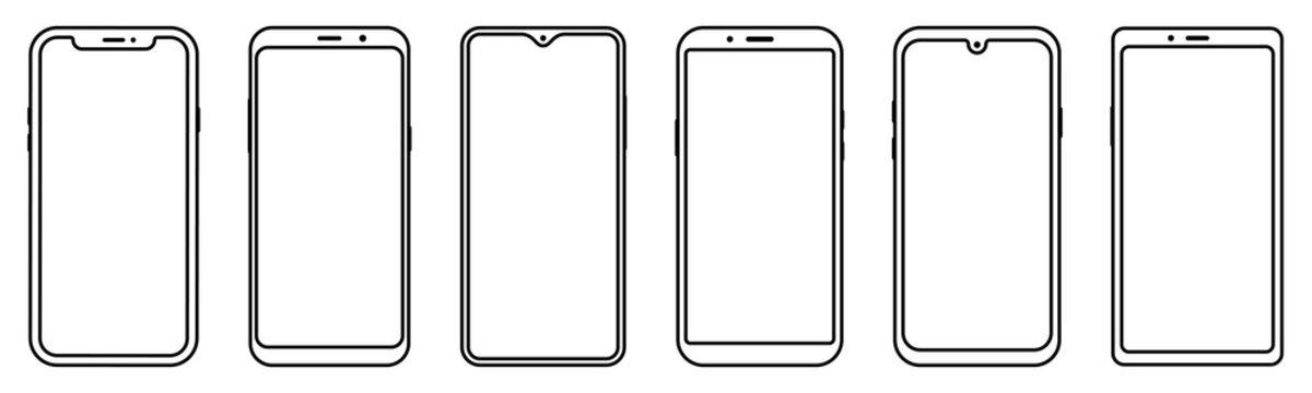 Smartphone outline set. Mobile phone. Vector