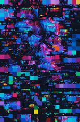 Dark, vibrant floral pixel/glitch background