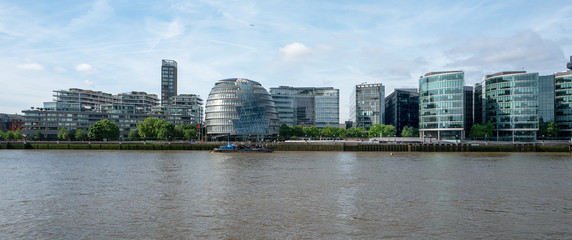 Riverside apartment and office buildings along the River Thames in London
