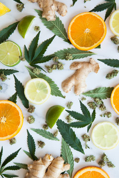 Cannabis Leaves, Flower, and Fresh Produce