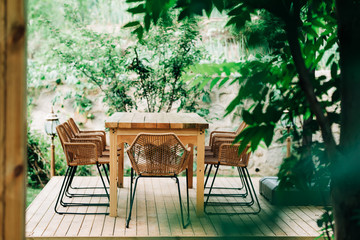 Dining table in a garden