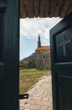 Entrance to Serbian Orthodox Church of the Nativity of the Virgin / Perast / Montenegro