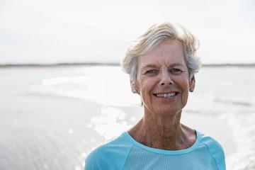 Face of Active Senior Woman Walking on Beach
