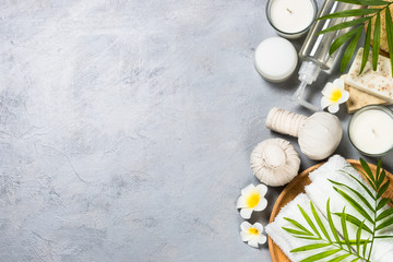Spa product Flat lay background.