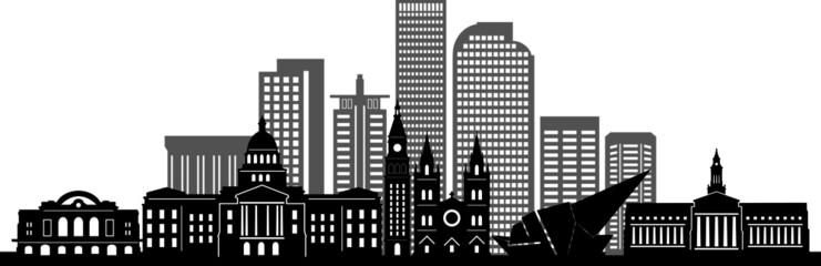 Fototapete - DENVER City Skyline Silhouette Cityscape Vector