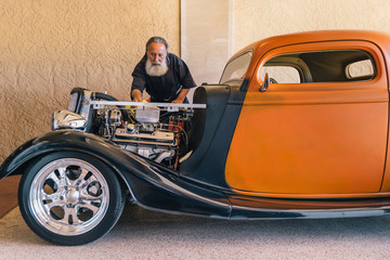 Vintage Hot Rod with Auto Mechanic