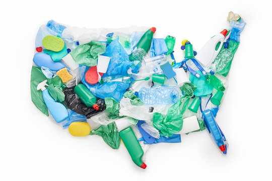 US map made of plastic trash