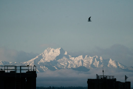 View of The Brothers mountain peaks from the Edmonds ferry terminal