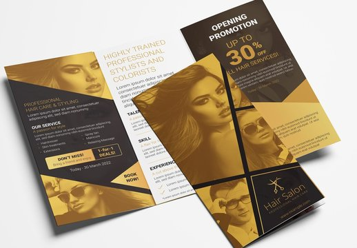 Black and Gold Trifold Brochure Layout