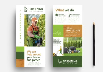 Green and Grown Card Layout with Gardening Illustrations