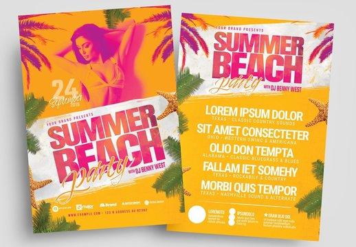 Summer Beach Party Flyer Layout