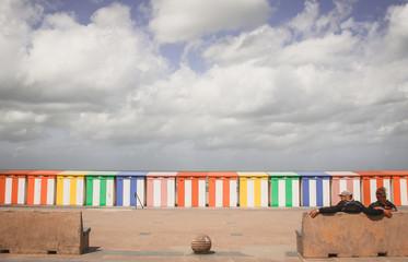 cabanes de plage à Malo-les-bains dans le nord de la France Wall mural