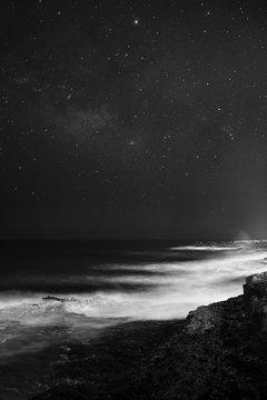 Starry sky in sea landscape