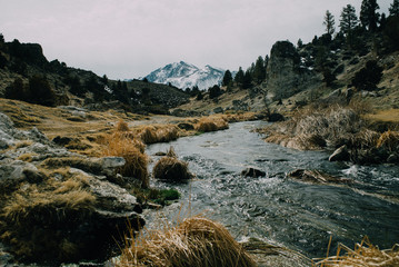 stream flows away from snow covered mountains in the distance