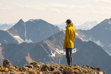 Male Hiker on the Summit of Mt. Brewer East Kootenay BB