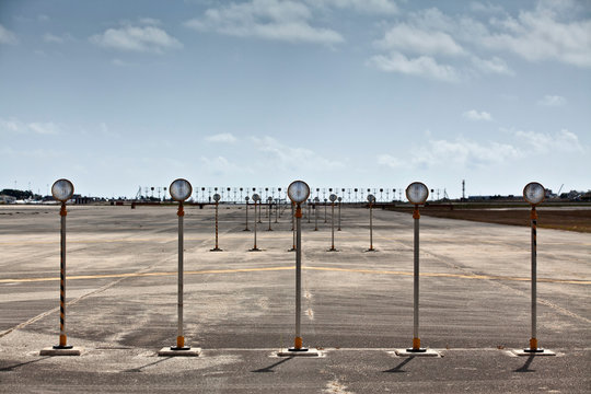 Runway Lights on airfield runway