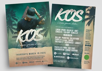 Event Flyer Layout with Green Textured Background and Palm Tree Illustrations
