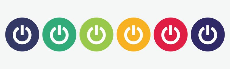 6 circles web buttons. Power icon set.