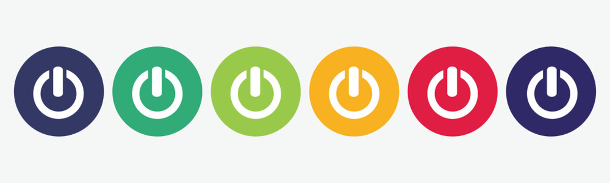 6 circles set in various colors with power icon.