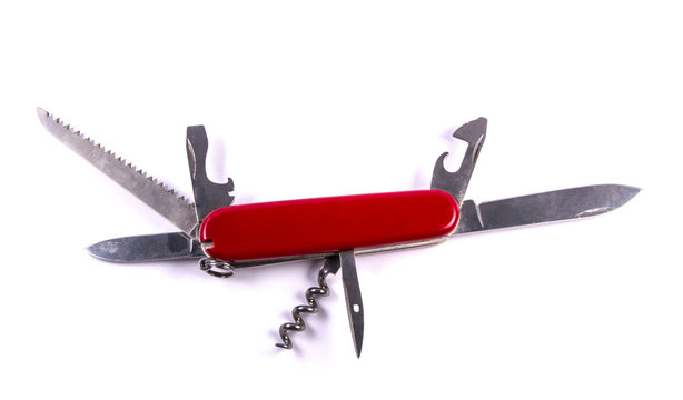 swiss army knife isolated on white background