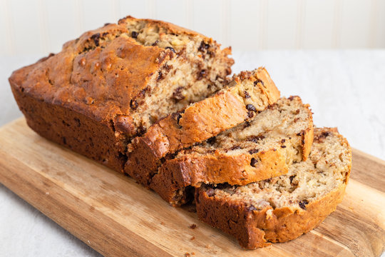 Freshly baked banana bread with walnuts and chocolate  chips