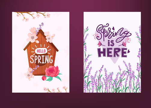 Set of Spring backrounds with flowers and text.
