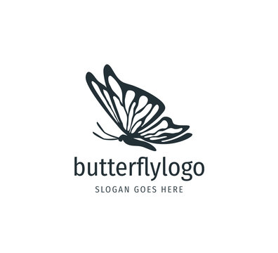 beautiful butterfly vector logo design with majestic detail feature on the wings in side view