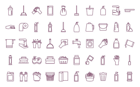 Cleaning service items line style icon set vector design