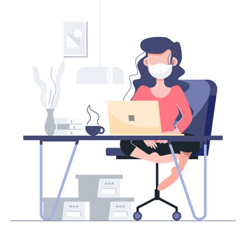 Work from home stay at home quarantine social distancing concept. Lockdown Covid-19 coronavirus outbreak. Flat character abstract people health care and medical vector.