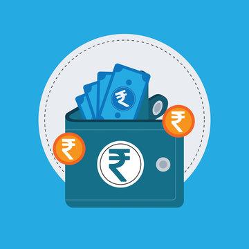 Vector Wallet and Money Rupee Icon