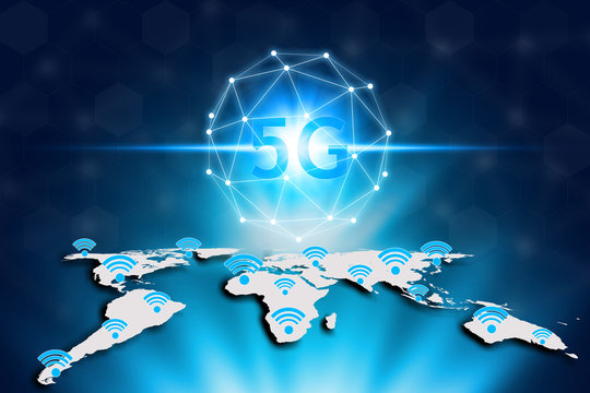 Virtual screen 5G network and wifi on the world map, World map on a technology 5G background, Technology Internet 5G global network concept.
