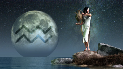 Aquarius, the water carrier, is the eleventh sign of the Zodiac. People born between January 20th and February 18th have this astrological sign. 3D Rendering