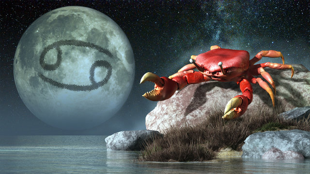 Cancer is the forth sign of the Zodiac. People born between June 21st and July 22nd have this astrological sign. Its symbol is the crab. 3D rendering