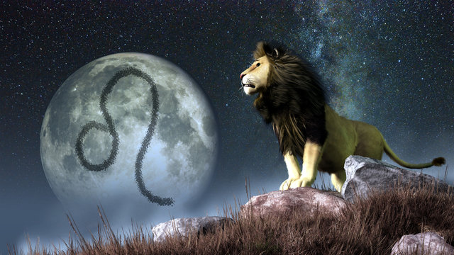 Leo is the fifth sign of the Zodiac. People born between July 22nd and August 22nd have this astrological sign. Its symbol is the lion. 3D rendering