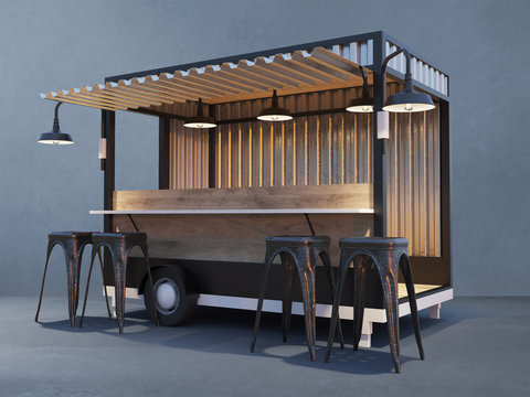 Trailer food truck Mockup, vintage hot dog market
