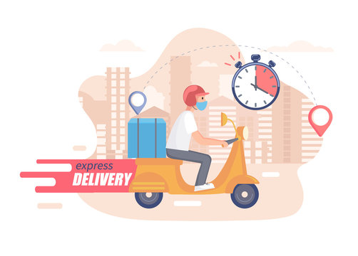 Fast,free and healthy scooter delivery concept. Food and other shipping service for websites in quarantine. Vector illustration of quick and express deliver. Advertise for restaurants, caffees, shops.