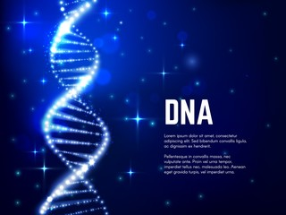 DNA glowing helix vector design of genetics science, medicine, biology and biotechnology. Blue molecule of DNA double helix with sparkling strands and atoms, bright sparkles and particles