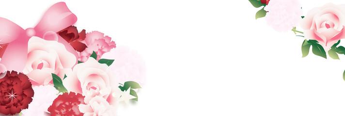 母の日カーネーションとバラのフラワーアレンジメントのイラストとピンクのリボンバナー素材