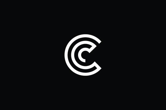 Minimal elegant monogram art logo. Outstanding professional trendy awesome artistic C CC CCC initial based Alphabet icon logo. Premium Business logo White color on black background