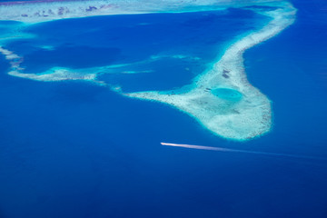 Fototapete - Beautiful aerial view of Maldives atolls is the world top beauty. Maldives tourism.