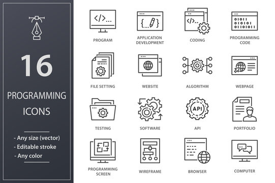 Programming line icons set. Black vector illustration. Editable stroke.