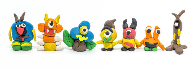 Play dough group monsters on white background Fotobehang