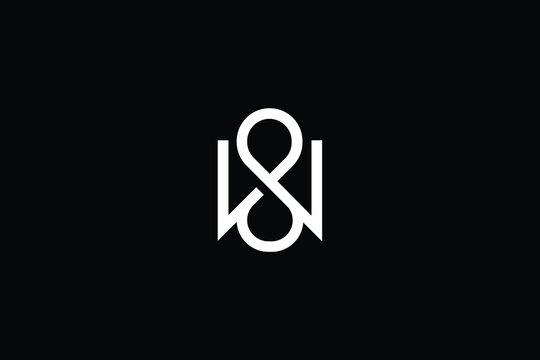 Minimal elegant monogram art logo. Outstanding professional trendy awesome artistic WS SW initial based Alphabet icon logo. Premium Business logo White color on black background