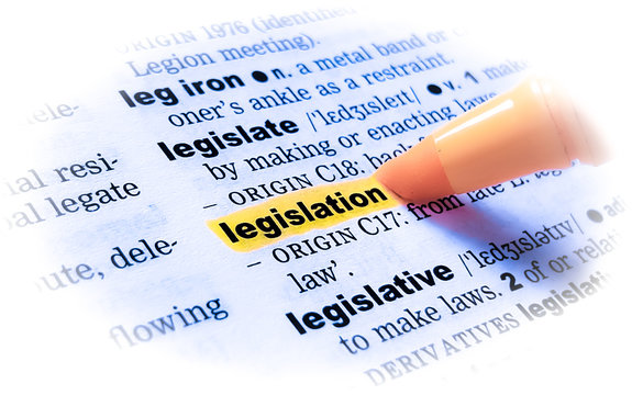 A close up of the word: LEGISLATION in a dictionary, highlighted in yellow and showing part of its definition.