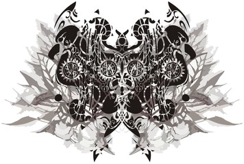 Ornamental butterfly with eagle and leaves elements. Abstract butterfly wings with a pattern of eagle heads against the background of leaves in monochrome on white