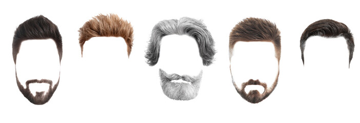 Wall Murals Hair Salon Set of fashionable men's hairstyles for designers isolated on white