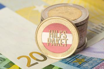 Euro Geld und Hilfspaket für die Wirtschaft in Österreich