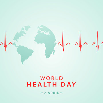 World health day concept banner with planet earth shape and .heart cardiogram . Medicine and healthcare stock vector illustration.