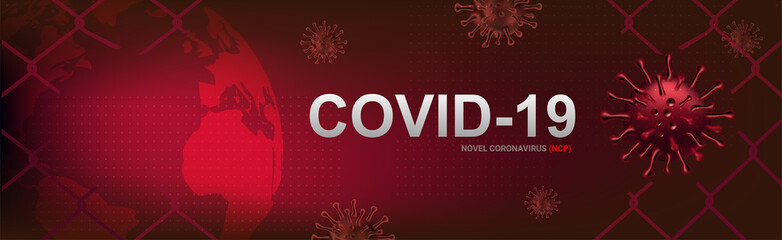 COVID-19 banner, Corona virus outbreak and influenza in 2020. Alert Covid-19 strain cases as a pandemic. Disease cells illustration concept with red background.