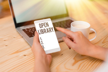 Text sign showing Open Library. Business photo text online access to many public domain and outofprint books